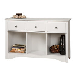 Prepac - Prepac Sonoma White Living Room Console - Complete your living space with the Living Room Console. Three drawers give this piece ample storage room, while the compartments underneath are perfect for books, baskets and other everyday essentials. At 16 inches deep, this console's top has plenty of space to display decorative elements like picture frames, candles and flowers. Designed to suit any decor, it's the piece your living room's been waiting for.