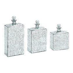 Benzara - Set of 3 Square Bottles Stoppers Mirror Mosaic Home Decor 27726 - Eye catching set of three square edged bottles with stoppers and sparkling mirror mosaic surfaces stylish home decor