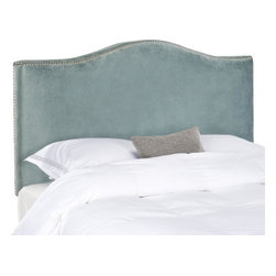 Safavieh - Jeneve Queen Camelback Headboard - Wedgwood Blue - Create a serenely elegant bedroom or master suite with the soft camelback silhouette of the Jeneve full/queen size headboard. Elegant silver nailhead trim contrasts Wedgwood blue cotton velvet upholstery in this impeccably crafted piece, which will transform any space into an oasis of relaxed sophistication. Attaches to any standard size metal frame bed.