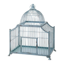 iMax Corporation - Iris Bird Cage - Blue, blue your world is blue, especially if you're a lucky bird. Distressed iron wire birdcage is perfect for the conservatory or any garden-themed space.