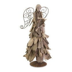 IMAX Woodland Driftwood Angel with Scroll - You can add the rustic authenticity of worn lumber to the uplifting design of the IMAX Woodland Driftwood Angel with Scroll to create a look that's great for the holidays or all year round. This free-standing angel is crafted from real driftwood with an iron frame and wings and a head of sturdy resin. There's a full selection of Woodland Driftwood Angels, so if you like this style, please take a look at the other angels for the complete, appealing effect.About IMAXWhat began as a small company importing copper flower containers in 1984 by Al and Faye Bulak has developed into one of the top U.S. import companies serving the At Home market today. IMAX now provides home and garden accessories imported from twelve countries around the world, housed in a 500,000 square foot distribution center. Additional sourcing, product development and showroom facilities in the USA, India and China make IMAX a true global source. They're dedicated to providing products designed to meet your needs. This is achieved through a design and product development team that pushes creativity, taste and fashion trends - layering styles, periods, textures, and regions of the world - to create a visually delightful and meaningful environment. At IMAX, they believe style, integrity, and great design can make living easier.