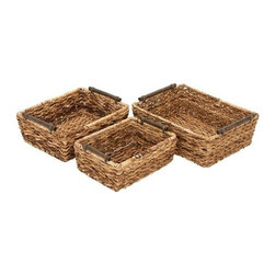 "Benzara - Rattan Basket Set of 3 18"", 16"", 14""W Unique Home Accents - Rattan Basket Set of 3 18"", 16"", 14""W Unique Home Accents. Some assembly may be required"