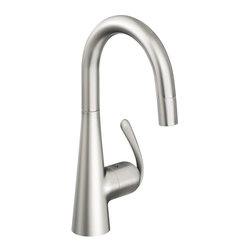 Grohe - Grohe 32 283 SDE Ladylux3 Pro WaterCare Prep Sink Dual Spray Pull-Down Kitchen F - A Grohe classic that has evolved with the times, the Ladylux (the original kitchen pull-out faucet) is the centerpiece of some of America's finest kitchens. Grohe's best-selling pull-out faucet has been given a new, updated look that combines the innovative design of today's modern kitchens with the functionality and durability of a professional tool. The new Ladylux3 features a dynamic and flowing silhouette with a more streamlined body than its predecessors. The flower-like body rises organically from the counter and merges with an elegantly arched spout and distinctive lever. Available in pull-out and pull-down versions, all feature dual-spray functionality and forward rotation lever handle to eliminate backsplash installation limits.Available finishes: StarLight Chrome - 32 283 00E SuperSteel - 32 283 DCE RealSteel Stainless Steel - 32 283 SDEGrohe Ladylux3 Pro WaterCare Prep Sink Dual Spray Pull-Down Kitchen Faucet incnlude: Grohe SilkMove ceramic cartridge
