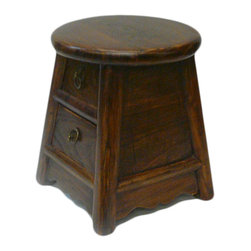 "Golden Lotus - Chinese Round Top Tiny Stool witht 2 Drawers - Dimensions:   Dia 10.5"" x h12"""