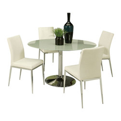 """Pastel Furniture - Pastel Sundance 5-Piece Frosted Glass Dining Room Set - Sundance Dining Set with 44"""" Round Black Frosted Tabletop. This set includes a table with four side chairs in chrome metal finish and upholstered in PU ivory fabric."""