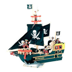 Le Toy Van Barbarossa Ship - This is the ultimate wooden pirate ship. It comes complete with flags with skulls and crossbones.