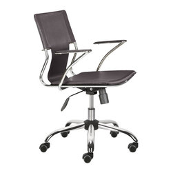 ZUO - Zuo Trafico Office Chair in Espresso (Set of 2) - Work in style and comfort with this sleek office chair as your desk seat. This modern chair features a gleaming chrome frame, a luxe leatherette sling seat, and supportive arm pads with a chrome base. With a fully adjustable height function and wheels to move around the office, you'll feel an ease of your work flow like never before.