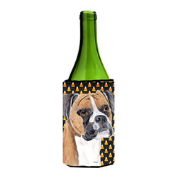 Caroline's Treasures - Boxer Fawn Uncropped Ears Candy Corn Halloween Wine Bottle Koozie Hugger - Boxer Fawn Uncropped Ears Candy Corn Halloween Portrait Wine Bottle Koozie Hugger Fits 750 ml. wine or other beverage bottles. Fits 24 oz. cans or pint bottles. Great collapsible koozie for large cans of beer, Energy Drinks or large Iced Tea beverages. Great to keep track of your beverage and add a bit of flair to a gathering. Wash the hugger in your washing machine. Design will not come off.