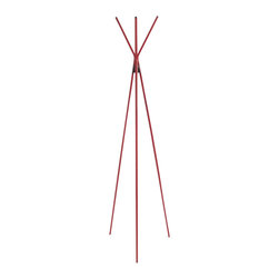 Eurostyle - Eurostyle Celia Coat Rack in Red - Eurostyle - Coat Racks - 06003RED - Featuring three elegant legs this one of a kind coat rack provides a modern solution to your modern home. Simply designed to complement an elegant living room or bedroom Celia Coat Rack is fun simple and unique.