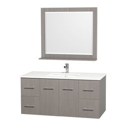 Wyndham Collection - Centra Grey Oak/ White 48-inch Single Bathroom Vanity Set - The Centra bathroom vanity from the Wyndham Collection Designer Series by Christopher Grubb arrives with a porcelain undermount sink set in a white man-made stone counter top. Grey oak-finished cabinets and drawers provide the base of this set.