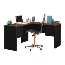 Bestar - Bestar Somerville L-Shaped Desk in Black and Tuscany Brown - Bestar - Home office Desks - 4542018