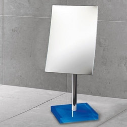 Gedy - Square Magnifying Mirror with Blue Base - Decorative pedestal magnifying mirror with blue thermoplastic base. Pedestal magnifying mirror. Base is made of thermoplastic resins. Blue color. From the Gedy Rainbow Collection.