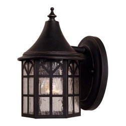 Savoy House - Savoy House 5-8250-25 Manchester Wall Mount Lantern - Exterior fixture - Mission style with copper edging in Slate finish with Pale Cream Textured glass.
