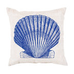 """Cobalt, Cream and Ivory Seashell Pillow - 20"""" x 20"""" - Drawn beautifully on a background of sophisticated neutral cloth, the sturdy fan-shaped clam sketched onto the Cobalt Seashell Pillow juxtaposes a naturally architectural form against a delicate geometric lattice. This attractive throw pillow suits indoor and outdoor spaces equally well and adds a touch of the seaside which isn't specific to the summertime."""