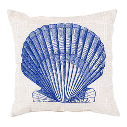 "Cobalt, Cream and Ivory Seashell Pillow - 20"" x 20"" - Drawn beautifully on a background of sophisticated neutral cloth, the sturdy fan-shaped clam sketched onto the Cobalt Seashell Pillow juxtaposes a naturally architectural form against a delicate geometric lattice. This attractive throw pillow suits indoor and outdoor spaces equally well and adds a touch of the seaside which isn't specific to the summertime."