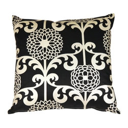 Pillow Decor - Pillow Decor - Waverly Fun Floret Licorice 20 x 20 Throw Pillow - The Waverly Fun Floret Throw Pillow is a beautiful stylized floral print pattern. The pattern is a classic with a contemporary twist. This decorative throw pillow is tastefully feminine and modern. The pillow is made from a 100% cotton medium weight fabric and is finished with a color matched zipper. This inviting and fresh decorative throw pillow is a statement piece on its own but also coordinates well with solid color and simple pattern pillows.