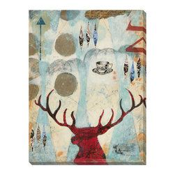 """Gallery Direct - """"Rural Stamp I"""" 18""""x24"""" Gallery Wrapped Canvas - Known for her spontaneity in developing images, Judy's style of painting incorporates traditional techniques as well as the non-traditional such as incorporating digital photography, vintage papers, and typography into her collage paintings. Nature is her inspiration as she intuitively blends shapes, color and texture for an exciting, refined result. Each of Judy's paintings is a journey. """"Sometimes the paintings start out as one subject or image and then evolve into something completely different. Painting is like living -- you start out with a plan and stay open to the opportunities as you move along.""""'"""