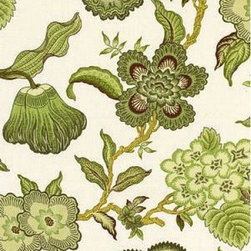 "F. Schumacher - Hothouse Flowers Fabric, Verdance - 2 Yard Minimum Order. This fabric print, Hothouse Flowers, by F. Schumacher is 100% linen and comes in 3 color-ways. Repeats - V50.375"" & H27""."