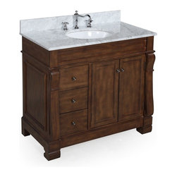 Kitchen Bath Collection - Westminster 36-in Bath Vanity (Carrara/Brown) - This bathroom vanity set by Kitchen Bath Collection includes a brown cabinet with soft-close drawers, Italian Carrara marble countertop, undermount ceramic sink, pop-up drain, and P-trap. Order now and we will include the pictured three-hole faucet and a matching backsplash as a free gift! All vanities come fully assembled by the manufacturer, with countertop & sink pre-installed.