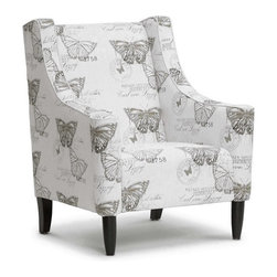 Baxton Studio - Baxton Studio Hammarby Beige Linen Accent Chair - Like an entry out of a butterfly collector's journal, the Hammar by Designer Arm Chair is stamped with images of butterflies and their scientific names. This beige linen accent chair's print was inspired by Carl Linneaus, a Swedish botanist and zoologist who lived during the 1700s. Made in China, the Hammar by Chair features an engineered wood frame, foam cushioning (CA117 compliant), and black lacquer wooden legs. The Hammar by Arm Chair requires minor assembly and calls for spot cleaning as necessary.