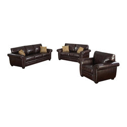 """ACPLouis - 2 pc Louis dark brown leather like fabric upholstered sofa and love seat set - 2 pc Louis dark brown leather like fabric upholstered sofa and love seat set with large rounded arms and nail head trim. This set features the sofa and love seat with large rounded arms and accented with a nail head trim on the arms.  sofa measures 89"""" x 38"""" D x 38"""" H.  love seat measures 67"""" x 37"""" x 38"""" H.  Optional chair and ottoman also available separately at additional cost and measures 44"""" x 37"""" x 38"""" ottoman  30"""" x 25"""" x 20"""" H.  Some assembly required."""