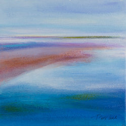 Teresa McCue - Summer Light 2 by Teresa McCue - Go coastal! The colors of summer come to you in a seascape of golden reds and shades of blue. Freshen your spaces with a forever summer look with this piece or collect the whole series for some serious seaside splendor.
