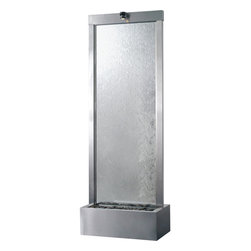 Bluworld - Gardenfall Floor Fountain with Clear Glass - 7.5' Stainless Steel - Add a little serenity to your space — indoors or out — with the soothing sound of this fountain. At 7.5 feet high, it's a dramatic focal point wherever it's displayed. Not only is it serenely beautiful to behold, it also has the amazing ability to humidify and cleanse the air.