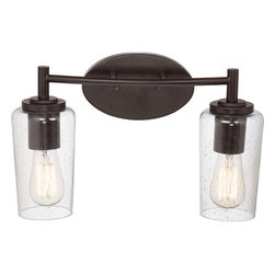 Quoizel - Edison Western Bronze Two Light Bath Fixture - - Bulb Included  - Cord Length: 6 Inches  - Glass/Shade: Seedy Glass Shade Quoizel - EDS8602WT