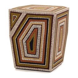 Snug - Dot Art End Table - Inspired by Aboriginal art - one drop, one letter in a word creates a whole in the fabric of existence. Features: -Material: Philippine mahogany ply substrate. -Hand painted with water based paint.