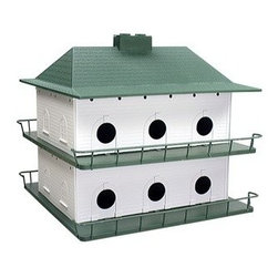 Heath - Plastic Martin House 12 room - 12 Room Plastic Purple Martin House. 2 story, 12 room house. Easy snap assembly. Easy access for cleaning. Ventilated to provide a cool nesting area. Drain holes allow moisture to escape. Guard rails to protect young martins. U.V. fade resistant.