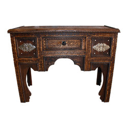 Badia Design Inc. - Hand Carved Dark Wood Desk - This is a beautifully designed one of a kind Dark Wood Moroccan desk with a Febule etching carved into the top and other carvings around the top edges.