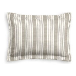 Gray & Ivory Handwoven Stripe Custom Sham - The Simple Sham may be basic, but it won't be boring!  Layer these luxurious reversible shams in various styles for a bed you'll want to fall right into. We love it in this handwoven cotton feedsack stripe in gray that will take your rustic space from shabby to chic.