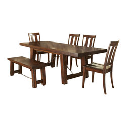 Liberty Furniture - Liberty Furniture Tahoe 7 Piece 90x40 Rectangular Dining Room Set w/ Bench and S - Tahoe rustic styling and refined design create a perfect combination to blend into any home decor. Featuring birch veneers in a rustic mahogany stain with an iron support stretcher with turnbuckle details. A wide slat back chair with a wood seat completes the simple, inviting style. Pair the table with a bench for a picnic style look. Wide slat back chair features tapered legs and a wood seat. Optional bench for additional seating or more rustic appeal. Sliding top server features a laminate work surface under a sliding top. Creates more serving space when opened. Two storage drawers and bottom sliding doors round out this functional piece. 10 bottle wine storage shelves are concealed behind the sliding door. What's included: Dining Table (1), Side Chair (4), Bench (1), Server (1).