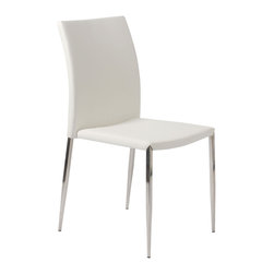 Eurostyle - Diana Side Chair (Set Of 4)-White/Ss - Leatherette seat and back