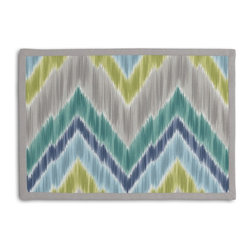 Green & Lime Large Ikat Chevron Tailored Placemat Set - Class up your table's act with a set of Tailored Placemats finished with a contemporary contrast border. So pretty you'll want to leave them out well beyond dinner time! We love it in this giant ikat chevron in bright blue, greens, & grays on smooth sateen. this flamestitch will set your decor ablaze.