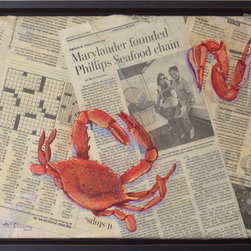 """Two Obituaries"" (Original) By Jane Mcelvany-Coonce - ""Two Obituaries"" Is A Tribute To The Man Who Started Phillips Crab House.  He Died This Year, And I Thought What Would Be More Fitting Than To Crack Crabs Over Newspaper With His Obit.  Of Course, The Crab Has Given Up His Life, Too, For A Worthy Cause."