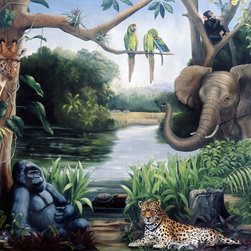 Murals Your Way - Jungle Friends (Hetzer) Wall Art - Painted by Karen Hetzer, the Jungle Friends wall mural from Murals Your Way will add a distinctive touch to any room