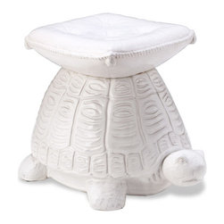 Interlude Home - Interlude Home Franklin Turtle Stool - The supports of this small stool are made of iron in an antique brass finish and resemble bamboo for a natural feel that complements the hand stained tobacco leather.