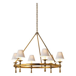Classic Ring Chandelier - Gorgeously ornamented and outfitted with pretty paper shades, this classic chandelier is anything but ordinary. Glowing with lovely light and gleaming in hand-rubbed brass, your ceiling has never looked so sophisticated.