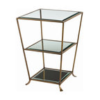 """Arteriors - Arteriors Home - Nick Antique Brass Mirror Side Table - 6554 - Solid brass """"bamboo"""" accent table. Oval glass top and bottom shelf makes this a very practical choice. Features: Nick Collection Side Table Antique Brass FinishBeveledClearPlain Mirror Some Assembly Required. Dimensions: H 29"""" x 20 1/2"""" Sq"""