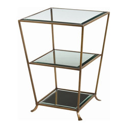 "Arteriors - Arteriors Home - Nick Antique Brass Mirror Side Table - 6554 - Solid brass ""bamboo"" accent table. Oval glass top and bottom shelf makes this a very practical choice. Features: Nick Collection Side Table Antique Brass FinishBeveledClearPlain Mirror Some Assembly Required. Dimensions: H 29"" x 20 1/2"" Sq"