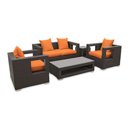 "LexMod - Lunar 5 Piece Outdoor Patio Sofa Set in Espresso Orange - Lunar 5 Piece Outdoor Patio Sofa Set in Espresso Orange - Elicit pure perceptions with this brightly illuminated outdoor living set. Inherit abundant light and energy as even the moon's halo shines a radiant glow on fertile orange all-weather cushions and espresso rattan base. Rejuvenating discussions await along the path of illuminated space and emergent explorations. Set Includes: Four - Lunar Outdoor Wicker Patio Throw Pillows One - Lunar Outdoor Wicker Patio Coffee Table One - Lunar Outdoor Wicker Patio Loveseat One - Lunar Outdoor Wicker Patio Side Table Two - Lunar Outdoor Wicker Patio Armchairs Synthetic Rattan Weave, Powder Coated Aluminum Frame, Water & UV Resistant, Machine Washable Cushion Covers, Easy To Clean Tempered Glass Top, Ships Pre-Assembled Coffee Table Dimensions: 47""L x 24""W x 13""H Side Table Dimensions: 18""L x 18""W x 18""H Loveseat Dimensions: 59""L x 33""W x 28""H Armchair Dimensions: 33""L x 31""W x 28""H Seat Height: 13""HBACKrest Height: 27.5""H Armrest Dimensions: 4""W x 27.5""H Cushion Depth: 4""H Overall Product Dimensions: 121""L x 66""W x 28""H - Mid Century Modern Furniture."
