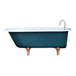 Consigned Refinished Malachite Green 5' Cast Iron Porcelain Copper Clawfoot Tub - Refinished Vintage Malachite Green 5 Ft Cast Iron Porcelain Copper Clawfoot Tub