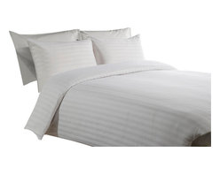 800 TC Duvet Cover with 1 Fitted Sheet Striped White, Full - You are buying 1 Duvet Cover (88 x 88 inches) and 1 Fitted Sheet (54 x 75 inches) only.