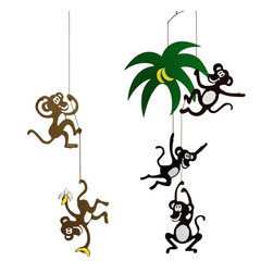 Flensted Mobiles - Monkey Tree Mobile - This playful monkeys hang down a palm tree. The mobile is full of life and fun - just a good thing for little kids.