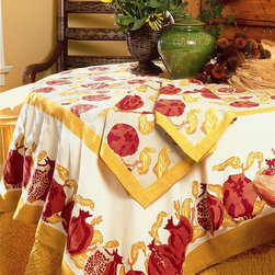 None - Pomegranate/ Yellow Rectangular Cotton Tablecloth - Featuring rich autumn hues and an inviting bordered pomegranate print,this table covering brings nature's beauty to your dining presentation. Suitable for holidays and everyday meals,this easy-care cotton tablecloth makes any gathering special.
