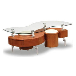 S-Shaped Coffee Table in Natural - Global Furniture USA - This unique modern designed Global Furniture USA S-Shaped Coffee Table in Natural Finish brilliantly uses the most of your available space. The surface of the Coffee Table gives the impression that it is floating, featuring funky metal and wood base supports. With matching rolling seating, this piece is a swanky addition to any decor.