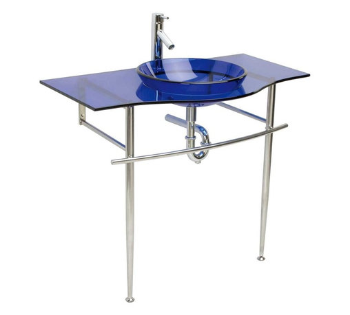 Renovators Supply - Glass Sinks Glass/Chrome Blue Miranda Console Glass Sink - Glass Sinks: the tempered glass Blue Miranda console sink package comes complete with faucet, pop-up drain and p-trap.