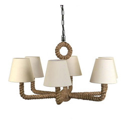 Nautical Rope Chandelier - We love this chandelier for both its rustic and contemporary sensibilities. The mix of rustic elements, like the rope, with more sophisticated elements, like the six linen shades, make it the perfect piece to inspire some nautical adventures.