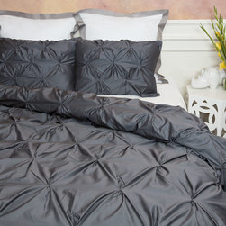 400 Thread Count Pintuck Duvet Cover, The Valencia Gray - Full of volume and elegance, this 400 thread count gray pintuck duvet will add textural dimension to subtly bring your room to life.  Multiple pintucks are sewn to perfection.